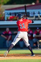 Justin Black (11) of the Danville Braves at bat against the Burlington Royals at Burlington Athletic Park on July 5, 2014 in Burlington, North Carolina.  The Royals defeated the Braves 5-4.  (Brian Westerholt/Four Seam Images)