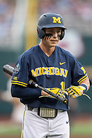 Michigan Wolverines third baseman Blake Nelson (10) walks back the dugout during Game 6 of the NCAA College World Series against the Florida State Seminoles on June 17, 2019 at TD Ameritrade Park in Omaha, Nebraska. Michigan defeated Florida State 2-0. (Andrew Woolley/Four Seam Images)