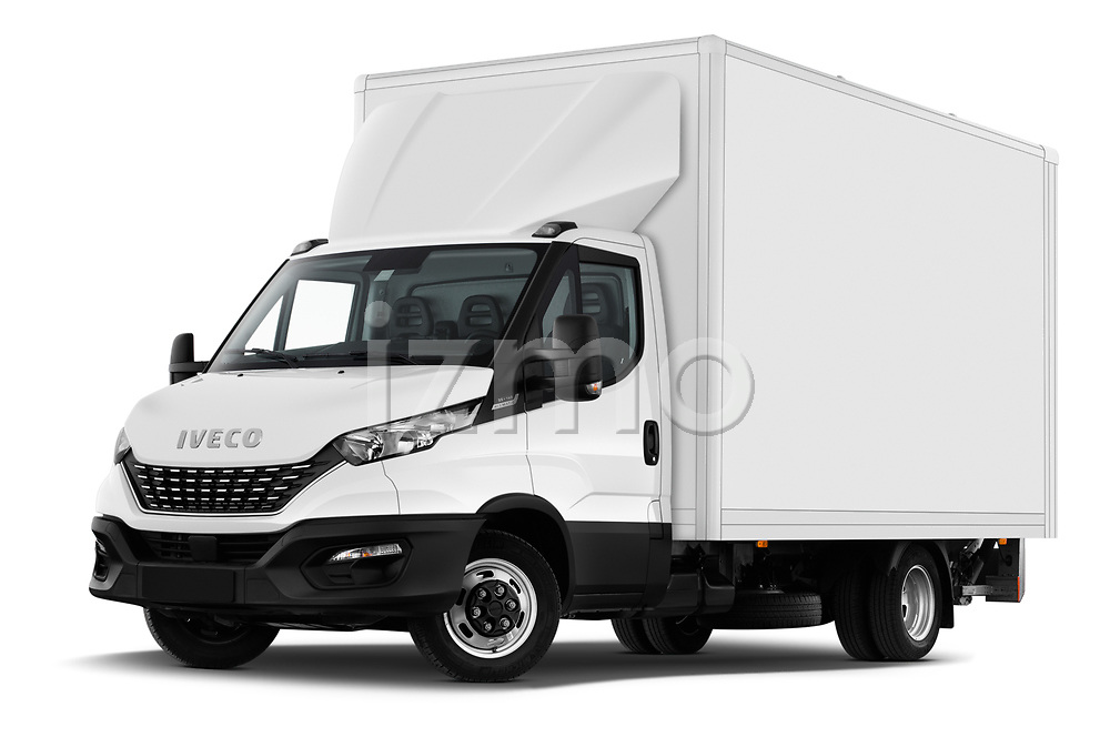Stock pictures of low aggressive front three quarter view of 2020 Iveco Daily C 2 Door Van Box Low Aggressive
