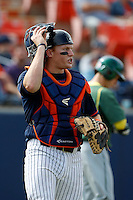 Chad Wallach #29 of the Cal State Fullerton Titans during a baseball game against the Oregon Ducks at Goodwin Field on March 3, 2013 in Fullerton, California. (Larry Goren/Four Seam Images)
