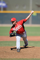 Cincinnati Reds pitcher Jacob Moody (61) during an Instructional League game against the Texas Rangers on October 3, 2014 at Surprise Stadium Training Complex in Surprise, Arizona.  (Mike Janes/Four Seam Images)