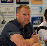 20150821 - GENT, BELGIUM: Gent's Donald Maes pictured during a press conference about the start of the new Super League season of the women's team KAA Gent Ladies , Friday 21 August 2015 , in Gent. PHOTO DAVID CATRY
