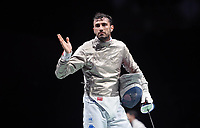 210724 -- TOKYO, July 24, 2021 -- Italy s Luigi Samele celebrates during the men s Sabre Individual table of 32 at Tokyo 2020 Olympic Games, Olympische Spiele, Olympia, OS in Tokyo, July 24, 2021.  TOKYO2020JAPAN-TOKYO-OLY-MEN-FENCING-SABRE INDIVIDUAL ZhangxHongxiang PUBLICATIONxNOTxINxCHN<br /> Photo XINHUA / Imago  / Insidefoto ITALY ONLY