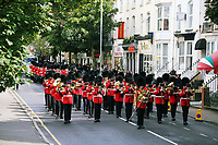 Pictured: The Welsh Guards parade through St Helen's Street in Swansea.  Friday 15 September 2017<br />