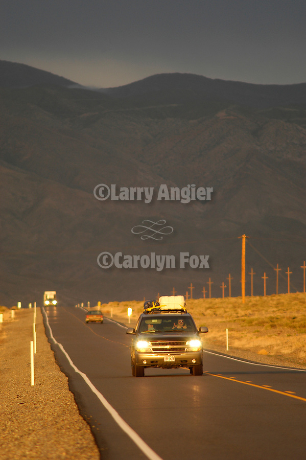 Traffic on US 95 and Pilot Mountains, Mineral County, Nevada.