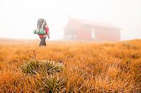 A tramper reaching the Brewster Hut in a fog -  Mt. Aspiring National Park, West Coast, New Zealand