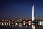The Washington Monument at dusk in Washington, DC, USA