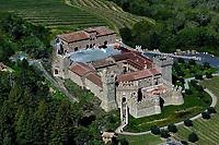 aerial photograph of the Castello di Amorosa winery, Calistoga, Napa County, California