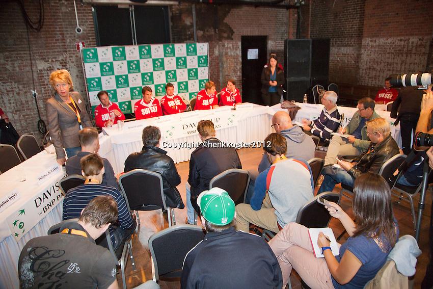 13-09-12, Netherlands, Amsterdam, Tennis, Daviscup Netherlands-Swiss, Draw , Swiss team at press-conference