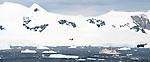 Expedition ship Akademik Vavilov, Neko Bay, Antarctic Peninsula, Antarctica. (digitally stitched image)