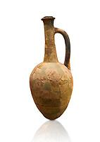 Hittite long neck pointed base terra cotta vessel. Hittite Old Period, 1650 - 1450 BC. Huseyindede. Çorum Archaeological Museum, Corum, Turkey. Against a white bacground.