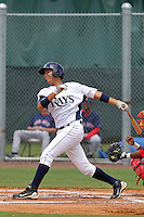 Cesar Perez (13)  Infielder for the GCL Rays during a game against the GCL Red sox on July 15th, 2010 at Charlotte Sports Park in Port Charlotte Florida. The GCL Rays are the the Gulf Coast Rookie League affiliate of the Tampa Bay Rays. Photo by: Mark LoMoglio/Four Seam Images