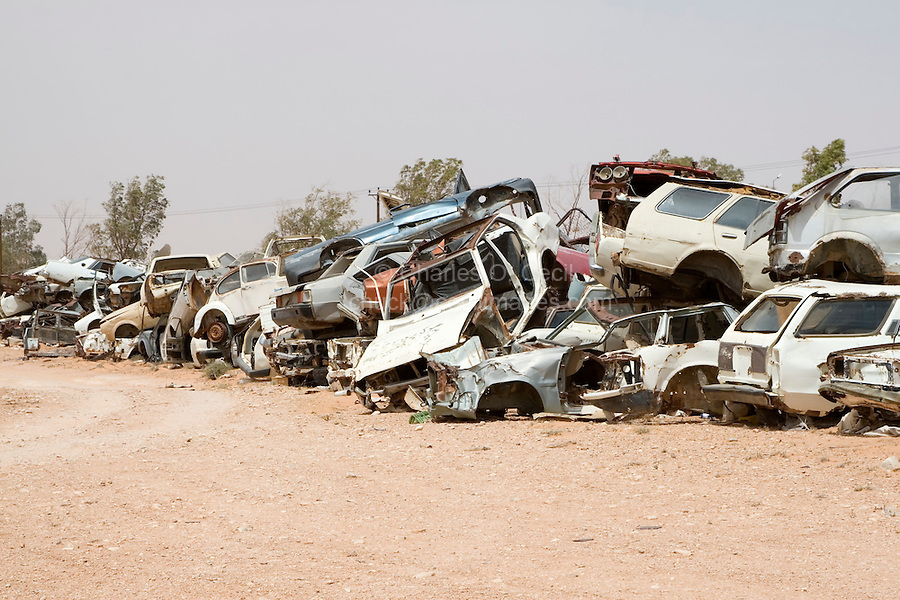 Bir al-Ghanam, south of Tripoli, Libya - Wrecked Cars Attest to Libya's High Traffic Accident Rate