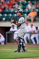 Pulaski Yankees catcher Carlos Narvaez (48) during a game against the Greeneville Reds on July 27, 2018 at Pioneer Park in Tusculum, Tennessee.  Greeneville defeated Pulaski 3-2.  (Mike Janes/Four Seam Images)