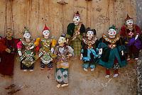 Traditional puppets at Bagan Market area, Myanmar, Burma,