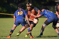 Action from the Counties secondary schools championship rugby match between Pukekohe High School and Alfriston College at Pukekohe High School in Pukekohe, New Zealand on Saturday, 3 July 2021. Photo: Dave Lintott / lintottphoto.co.nz