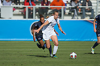 Cary, North Carolina - Sunday December 6, 2015: Rebecca Quinn (5) of the Duke Blue Devils chases after the ball during first half action against the Penn State Nittany Lions at the 2015 NCAA Women's College Cup at WakeMed Soccer Park.  The Nittany Lions defeated the Blue Devils 1-0.