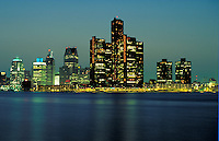Night view of skyline of Detroit, Michigan. Detroit Michigan USA downtown.