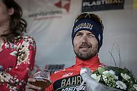 Sonny Colbrelli (ITA/Bahrain Merida) after finishing 3rd. <br /> <br /> 70th Kuurne-Brussel-Kuurne 2018 (1.HC)