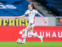 SOLNA, SWEDEN - APRIL 10: Rose Lavelle #16 of the USWNT dribbles during a game between Sweden and USWNT at Friends Arena on April 10, 2021 in Solna, Sweden.