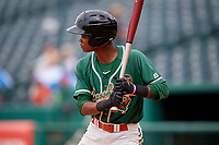 Greensboro Grasshoppers second baseman Jose Devers (2) at bat during a game against the Lakewood BlueClaws on June 10, 2018 at First National Bank Field in Greensboro, North Carolina.  Lakewood defeated Greensboro 2-0.  (Mike Janes/Four Seam Images)