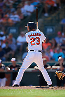 Baltimore Orioles center fielder Joey Rickard (23) at bat during a Grapefruit League Spring Training game against the Detroit Tigers on March 3, 2019 at Ed Smith Stadium in Sarasota, Florida.  Baltimore defeated Detroit 7-5.  (Mike Janes/Four Seam Images)