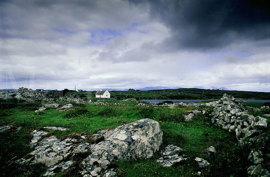 Irish cottage and landscape, Ireland