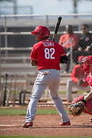 Cincinnati Reds right fielder Reniel Ozuna (82) during a Minor League Spring Training game against the Los Angeles Angels at the Cincinnati Reds Training Complex on March 15, 2018 in Goodyear, Arizona. (Zachary Lucy/Four Seam Images)