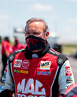 Jul 11, 2020; Clermont, Indiana, USA; NHRA top fuel driver Doug Kalitta during qualifying for the E3 Spark Plugs Nationals at Lucas Oil Raceway. This is the first race back for NHRA since the start of the COVID-19 global pandemic. Mandatory Credit: Mark J. Rebilas-USA TODAY Sports