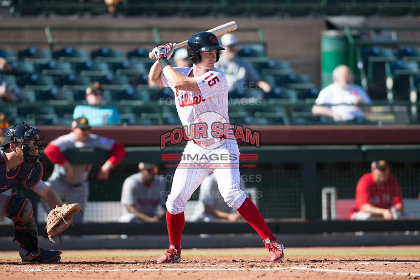 Scottsdale Scorpions third baseman Luke Williams (15), of the Philadelphia Phillies organization, at bat during an Arizona Fall League game against the Mesa Solar Sox at Scottsdale Stadium on November 2, 2018 in Scottsdale, Arizona. The shortened seven-inning game ended in a 1-1 tie. (Zachary Lucy/Four Seam Images)
