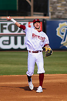 Wisconsin Timber Rattlers shortstop Brice Turang (2) throws the ball to thrid base during a Midwest League game against the Burlington Bees on April 26, 2019 at Fox Cities Stadium in Appleton, Wisconsin. Wisconsin defeated Burlington 2-0. (Brad Krause/Four Seam Images)