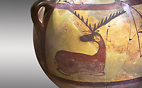 Close up of a Phrygian terra cotta large jug with handles, decorated with animals, from Gordion. Phrygian Collection, 6th century BC - Museum of Anatolian Civilisations Ankara. Turkey.