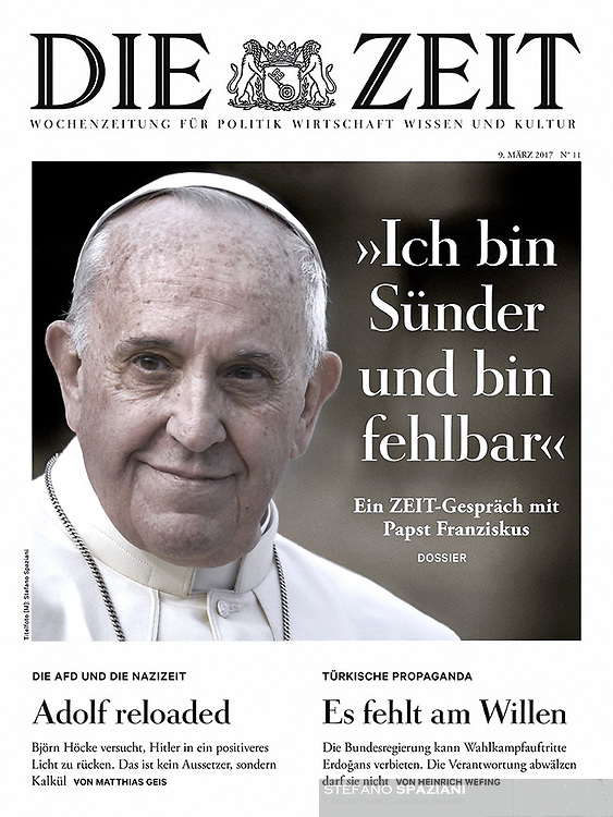 Pope's Interview With 'Die Zeit' German Magazine. 9 March, 2017. <br /> Photograph by Stefano Spaziani.