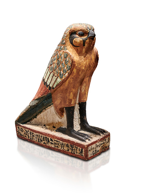 Ancient Egyptian wooden falcon bird, Late Period (722-322 BC), Egyptian Museum, Turin. Cat 986. white background <br /> <br /> Wooden tomb models were an Egyptian funerary custom from the Middle Kingdom in which wooden figurines and sets were constructed to be placed in the tombs of Egyptian royalty. These wooden models represented the work of servants, farmers, other skilled craftsman, armies, and religious rituals