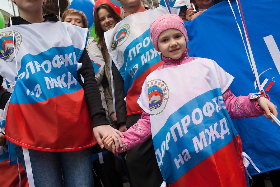 Moscow, Russia, 01/05/2011..Trade Unions and supporters of the pro Kremlin United Russia party demonstrate in central Moscow. A variety of political groups took to the streets on the traditional Russian Mayday holiday.
