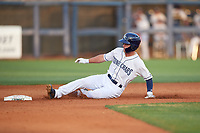 Charlotte Stone Crabs Tyler Frank (5) slides into second base during a Florida State League game against the Fort Myers Miracle on April 6, 2019 at Charlotte Sports Park in Port Charlotte, Florida.  Fort Myers defeated Charlotte 7-4.  (Mike Janes/Four Seam Images)
