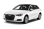 2018 Audi A3 Sportback e tron Premium  5 Door Hatchback angular front stock photos of front three quarter view