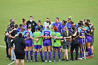 ORLANDO, FL - OCTOBER 17: Orlando Pride huddle after a game between North Carolina Courage and Orlando Pride at Exploria Stadium on October 17, 2020 in Orlando, Florida.