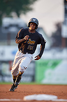 West Virginia Black Bears third baseman Raul Siri (55) runs the bases during a game against the Batavia Muckdogs on August 7, 2017 at Dwyer Stadium in Batavia, New York.  West Virginia defeated Batavia 6-3.  (Mike Janes/Four Seam Images)