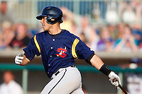 June 24, 2009:  Catcher Tony Sanchez of the State College Spikes at bat during a game at Eastwood Field in Niles, OH.  The State College Spikes are the NY-Penn League Short Season-A affiliate of the Pittsburgh Pirates.  Photo by:  Mike Janes/Four Seam Images