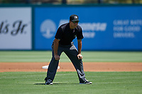 Umpire Alex Nash during a California League game between the Lake Elsinore Storm and the Inland Empire 66ers on April 14, 2019 at The Diamond in Lake Elsinore, California. Lake Elsinore defeated Inland Empire 5-3. (Zachary Lucy/Four Seam Images)