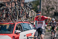 Tim Wellens (BEL/Lotto Soudal) back at the teamcar for provisions<br /> <br /> 82nd Flèche Wallonne 2018 (1.UWT)<br /> 1 Day Race: Seraing - Huy (198km)