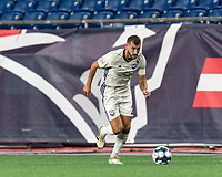 FOXBOROUGH, MA - SEPTEMBER 5: Nick O'Callaghan #2 of Tormenta FC looks to pass during a game between Tormenta FC and New England Revolution II at Gillette Stadium on September 5, 2021 in Foxborough, Massachusetts.
