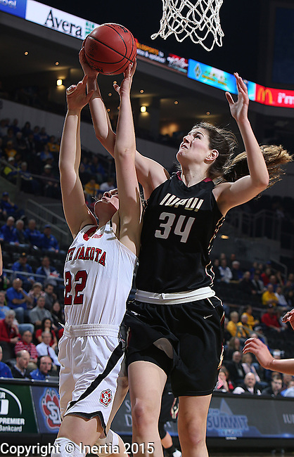 SIOUX FALLS, SD - MARCH 9: Nevena Markovic #34 of IUPUI and Bridget Arens #22 of USD fight for a rebound in the first half of their semi-final round Summit League Championship Tournament game Monday afternoon at the Denny Sanford Premier Center in Sioux Falls, SD. (Photo by Richard Carlson/Inertia)