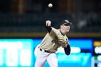 Wake Forest Demon Deacons relief pitcher William Fleming (38) delivers a pitch to the plate against the Charlotte 49ers at BB&T BallPark on March 13, 2018 in Charlotte, North Carolina.  The 49ers defeated the Demon Deacons 13-1.  (Brian Westerholt/Four Seam Images)