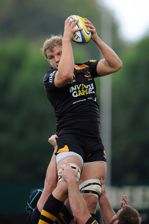 Joe Launchbury of Wasps secures the lineout ball during the Premiership Rugby Round 2 match between Wasps and Northampton Saints at Adams Park on Sunday 14th September 2014 (Photo by Rob Munro)