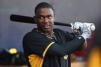 Bradenton Marauders outfielder Josh Bell (17) in the dugout before a game against the Charlotte Stone Crabs on April 4, 2014 at Charlotte Sports Park in Port Charlotte, Florida.  Bradenton defeated Charlotte 9-1.  (Mike Janes/Four Seam Images)