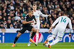 Kylian Mbappe (L) of Paris Saint Germain fights for the ball with Carlos Henrique Casemiro of Real Madrid during the UEFA Champions League 2017-18 Round of 16 (1st leg) match between Real Madrid vs Paris Saint Germain at Estadio Santiago Bernabeu on February 14 2018 in Madrid, Spain. Photo by Diego Souto / Power Sport Images