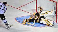24 January 2009: Boston Bruins goaltender Tim Thomas gives up a goal to Milan Hejduk in the Elimination Shootout of the NHL SuperSkills Competition, during the All-Star Weekend at the Bell Centre in Montreal, Quebec, Canada. ***** Editorial Sales Only ***** Mandatory Photo Credit: Ed Wolfstein Photo