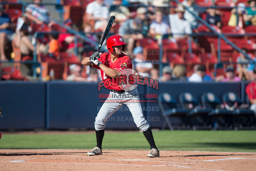 Vancouver Canadians left fielder Tanner Kirwer (19) at bat during a Northwest League game against the Spokane Indians at Avista Stadium on September 2, 2018 in Spokane, Washington. The Spokane Indians defeated the Vancouver Canadians by a score of 3-1. (Zachary Lucy/Four Seam Images)